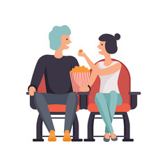 Young couple in love watching movie in cinema theater and eating popcorn vector Illustration on a white background.