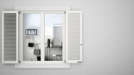 Exterior plaster wall with white window with shutters, showing interior modern living room, blank background with copy space, architecture design concept