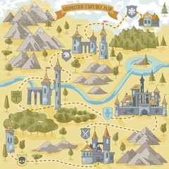 Fantasy Adventure simple map elements of geometric line art style in vector illustration format