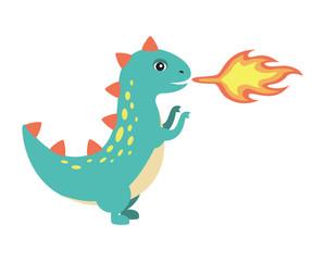 Dinosaur Making Fire Image Vector Illustration