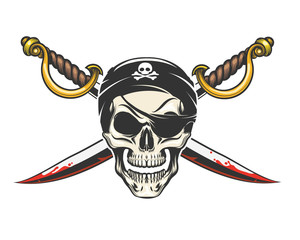 Pirate Skull with crossed sabres