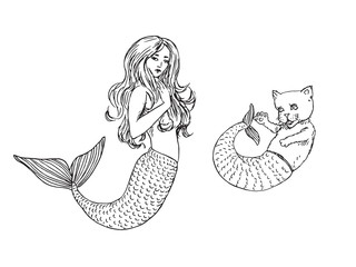Mermaid and cat with fish tail, hand drawn outline doodle sketch, black and white vector illustration