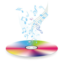 Fototapeta Music concept design, music symbols on compact disc, isolated on white background.