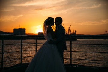 Portrait silhouettes of bride and groom standing on night city background and tenderly looking at each other at sunset. Concept of love and family, newlyweds at wedding day. Marriage concept.