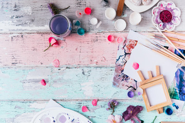 Art workspace for designer and artists. Flat lay with brushes and paint Wall mural