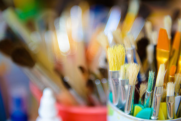 Colored art brushes for drawing. The artist's tools for painting.