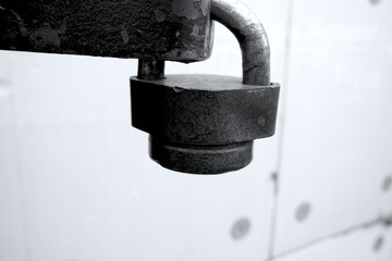 Lock on the door, black and white photo