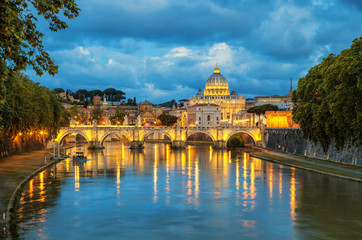 Poster de jardin Rome Evening view of Basilica St Peter and bridge Sant Angelo in Vatican City Rome Italy. Rome architecture and landmark. St. Peter's cathedral in Rome.