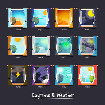 weather and daytime outside the window. weather icon concept - vector