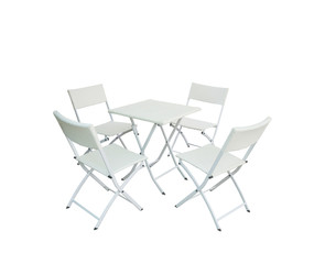 Set of garden wood table and chairs isolated on white background.clippiing path