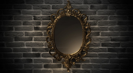 Mirror magical, fortune telling and fulfillment of desires. Brick wall, neon