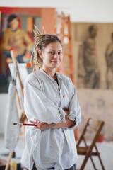 Portrait of an Artistic girl her atelier.