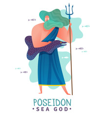 Ancient Greek God Poseidon Illustration