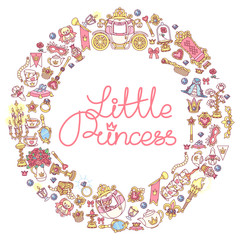 vector round frame icon collection Little Princess