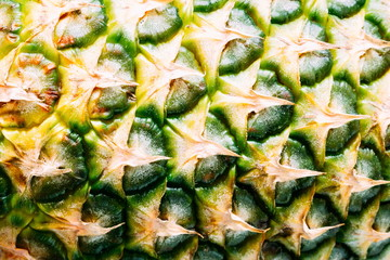 Pineapple close-up background, texture. Flat lay, top view