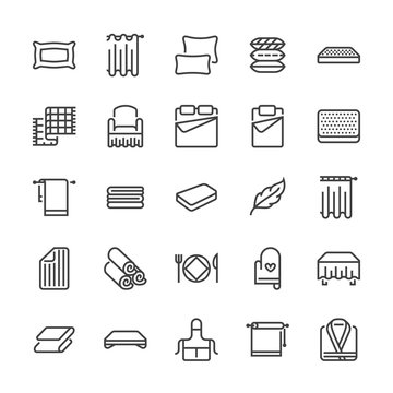 Bedding flat line icons. Orthopedics mattresses, bedroom linen, pillows, sheets set, blanket and duvet illustrations. Thin signs for interior store. Pixel perfect 48x48.