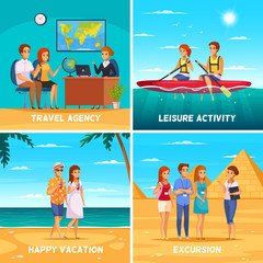 Travel agency 2x2 design concept