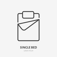 Single bed flat line icon. Bedding sign. Thin linear logo for interior store.