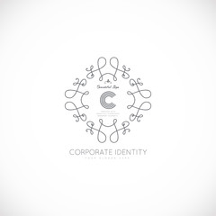 Luxury monogram logo template. Elegant design for business sign, restaurant, wedding shop, jewelry, fashion, product design, brand sign. Vector illustration