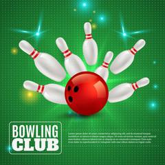 Fototapete - Bowling Club 3D Composition