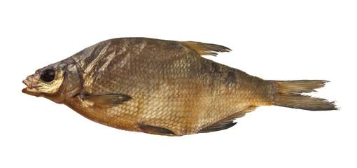 smoked fish isolated on white background