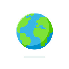 Flat style Earth globe icon. Spherical world map isolated on a white