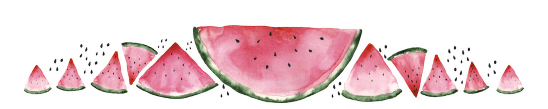 Fresh red watermelon on white isolated background. Watercolor illustration. Concept. Collage