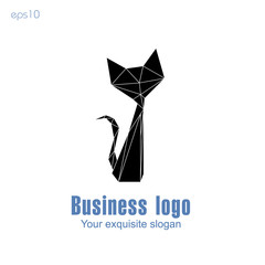 Black cat business logo