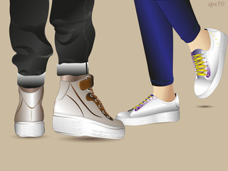Girl and guy on date Legs in jeans and a sporty young man in leather boots with Velcro girls in white sneakers on lacing