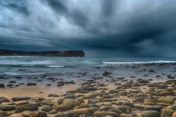 Moody Seascape with Clouds