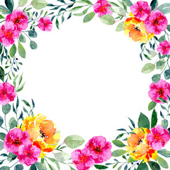 Watercolor floral frame. Background with fresh spring foliage, bright flowers and place for text