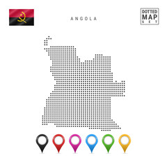 Vector Dotted Map of Angola. Simple Silhouette of Angola. The National Flag of Angola. Set of Multicolored Map Markers