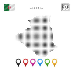 Vector Dotted Map of Algeria. Simple Silhouette of Algeria. National Flag of Algeria. Set of Multicolored Map Markers