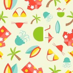 Summer theme seamless pattern, surfboard, Hawaii shirt, palm tree, bikini, jelly fish, coconut juice