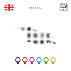 Vector Dotted Map of Georgia. Simple Silhouette of Georgia. National Flag of Georgia. Set of Multicolored Map Markers