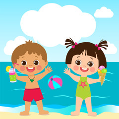 Cute Little Boy And Girl Playing With Sand On Summer Beach. Kids On The Beach Summer Holiday Vector Illustration. Background With Space For Text. It Was Real Fun.