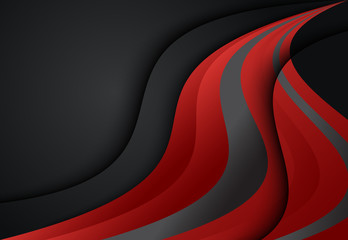 Red and Black abstract curve and wavy background