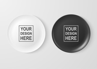 Realistic vector white and black food dish plate icon set closeup isolated on white background. Design template, mock up for graphics, printing etc. Top view