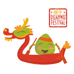 Dragon boat racing festival promotion illustration: happy rice dumpling character on a dragon boat.