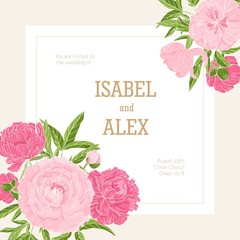 Square wedding invitation template decorated with blossoming pink peony flowers. Gorgeous garden flowering plants. Natural vector illustration in beautiful retro style for event celebration.