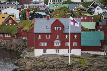 Panorama view to the city of Torshavn on Faroer islands