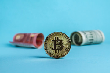 bitcoin against the dollar or euro on a blue background