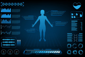 abstract futuristic technology science concept human data health digital interface and brain checking icon DNA,Heart,Brain and world.vector and illustration