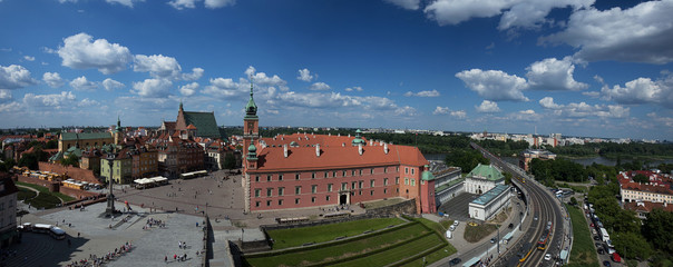 Panorama of Warsaw with the Royal Castle, a bridge and a view of Prage