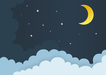 Clouds with moon and stars in midnight