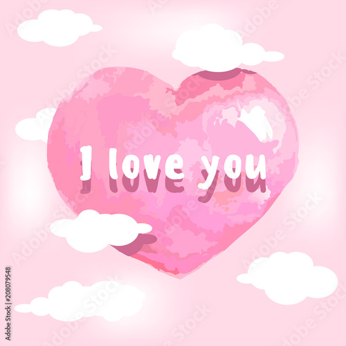 Pink Heart On A Background With Clouds And The Inscription I Love You Template Greeting Card Vector Ilration Wallpaper Banner