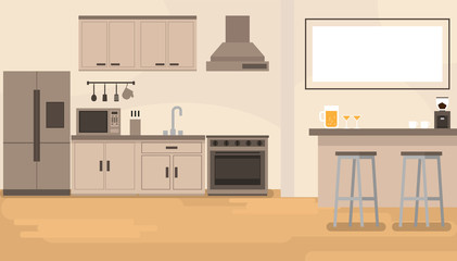 interior kitchen room with bar counter and kitchenware in room.vector and illustration.