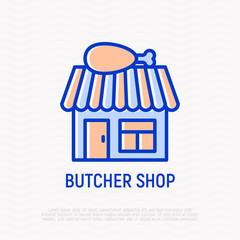 Butcher shop thin line icon: building with chicken's leg on roof. Modern vector illustration.