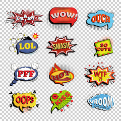 Set of comic speech bubbles. Onomatopoeic expressions: Lol and cool, bang and WTF, OOOH and OOPS, Vroom and yeah, boom and pow