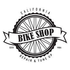 Vintage and modern bike logo badge and label. Cycle wheel isolated vector. Old style bicycle shop and club logotype.